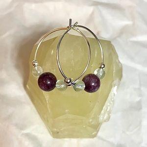 Jewelry - LEPIDOLITE & GREEN FLUORITE Hoop Earrings💚💜